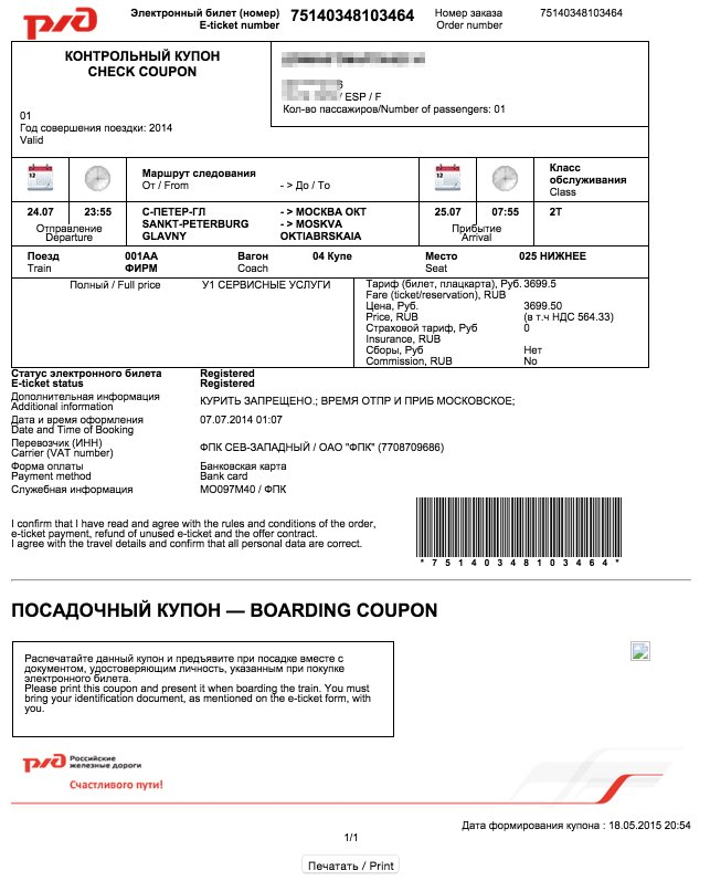 Example Russian Train Ticket Moscow - St. Petersburg 9