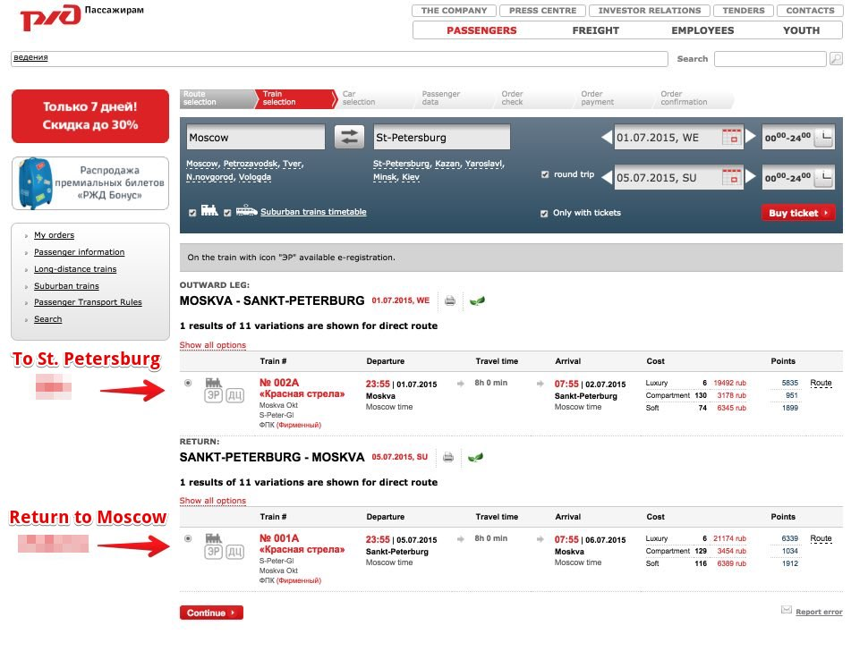 Trains in Russia - How to buy tickets on-line - Select Train Red Arrow Moscow - St. Petersburg 4 bis