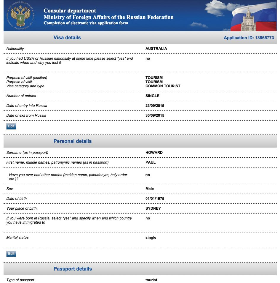 Visa Russia from Australia - Completion of electronic visa application form 13
