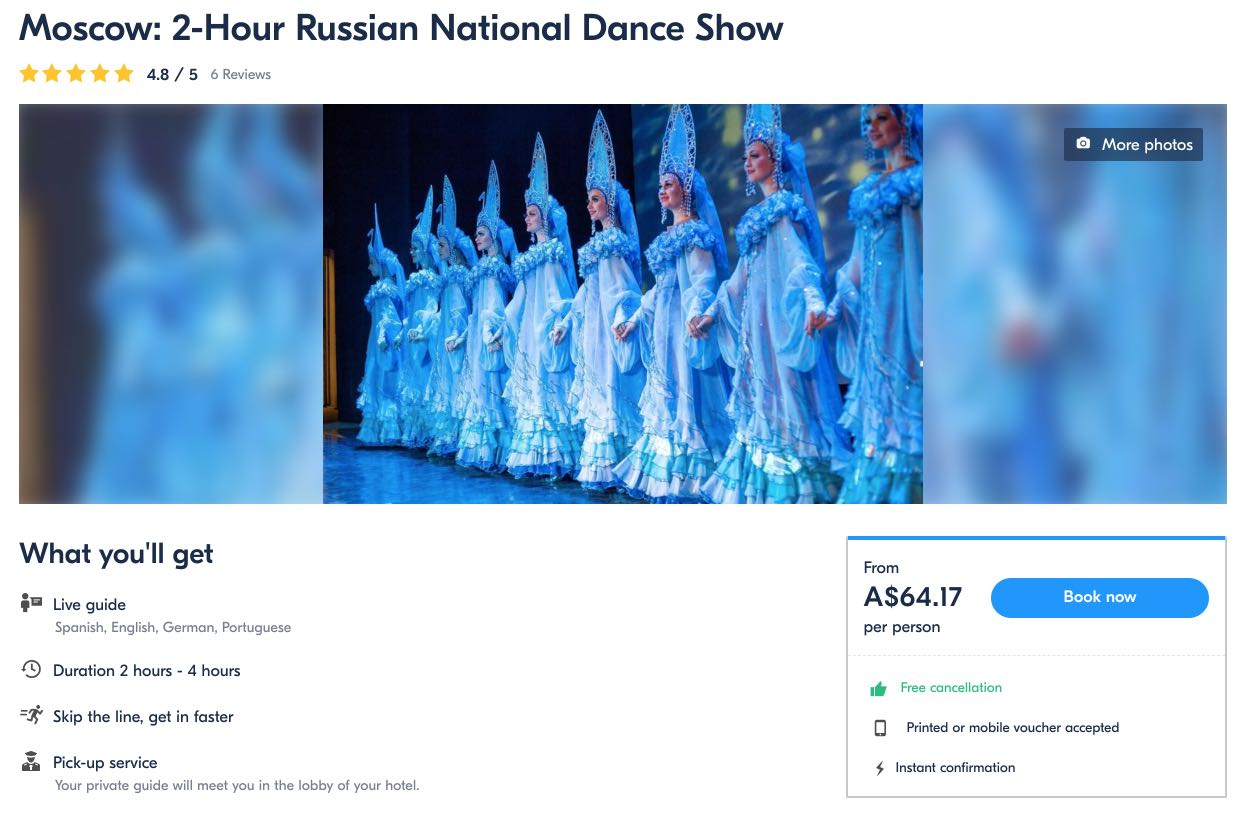 Moscow 2-Hour Russian National Dance Show - Australian dollars